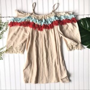 Fringed cream blue red off shoulder top NWT
